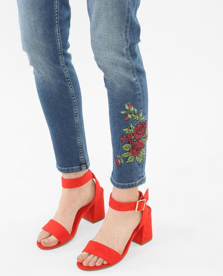 Jean skinny taille haute brodé bleu denim