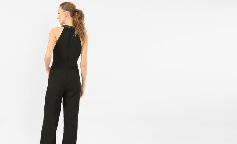 Combi-pantalon à bijoux noir