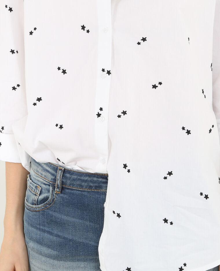 Chemise brodée étoiles blanc