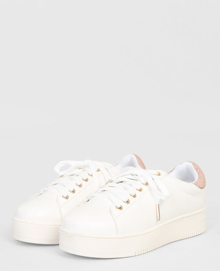 Baskets plateforme glitter blanc