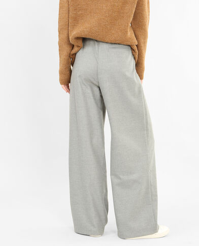 Pantalon large gris chiné