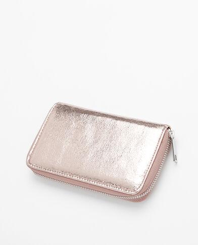 Petit portefeuille compagnon métallisé doré