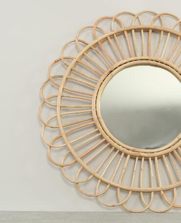 Miroir rond en rotin beige taupe