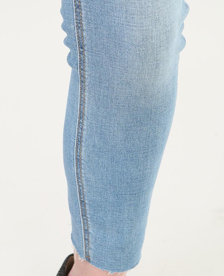 Jean skinny 7/8 raw cut bleu