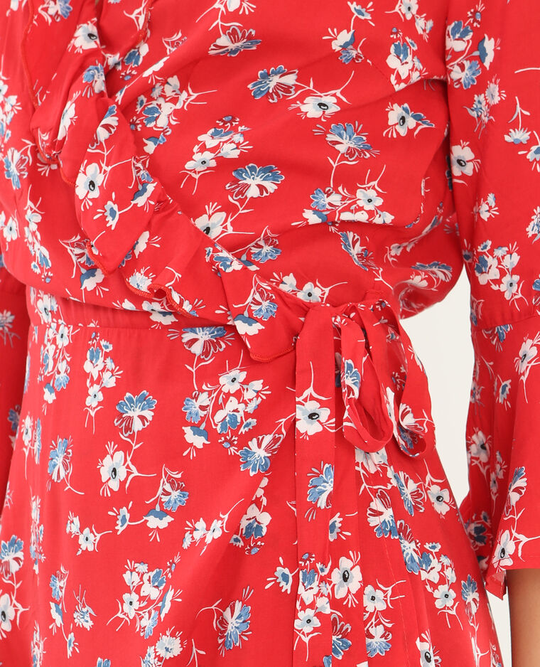 Robe portefeuille volantée rouge