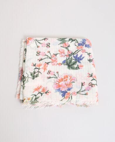 Foulard fleuri blanc cassé