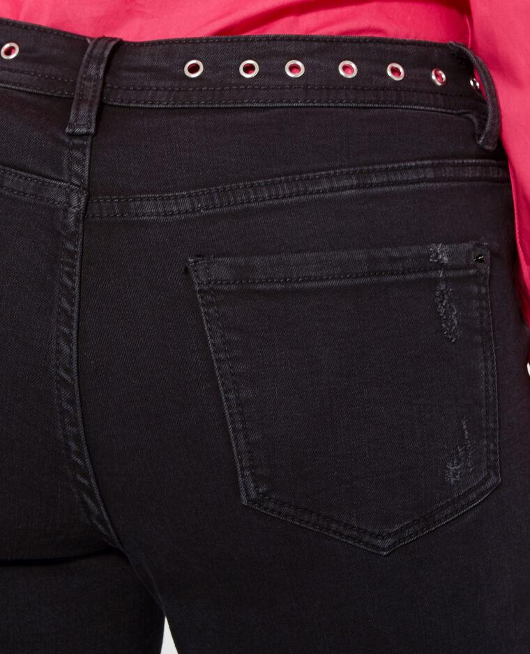 Jean skinny à œillets noir