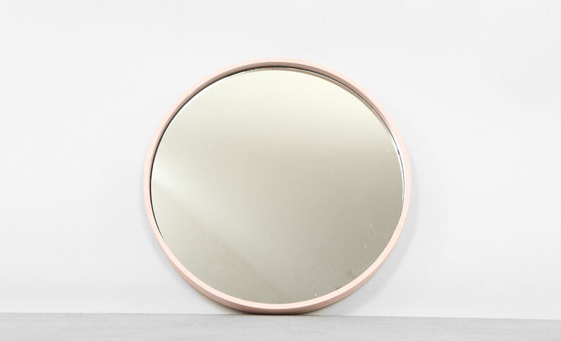 Grand miroir rond rose