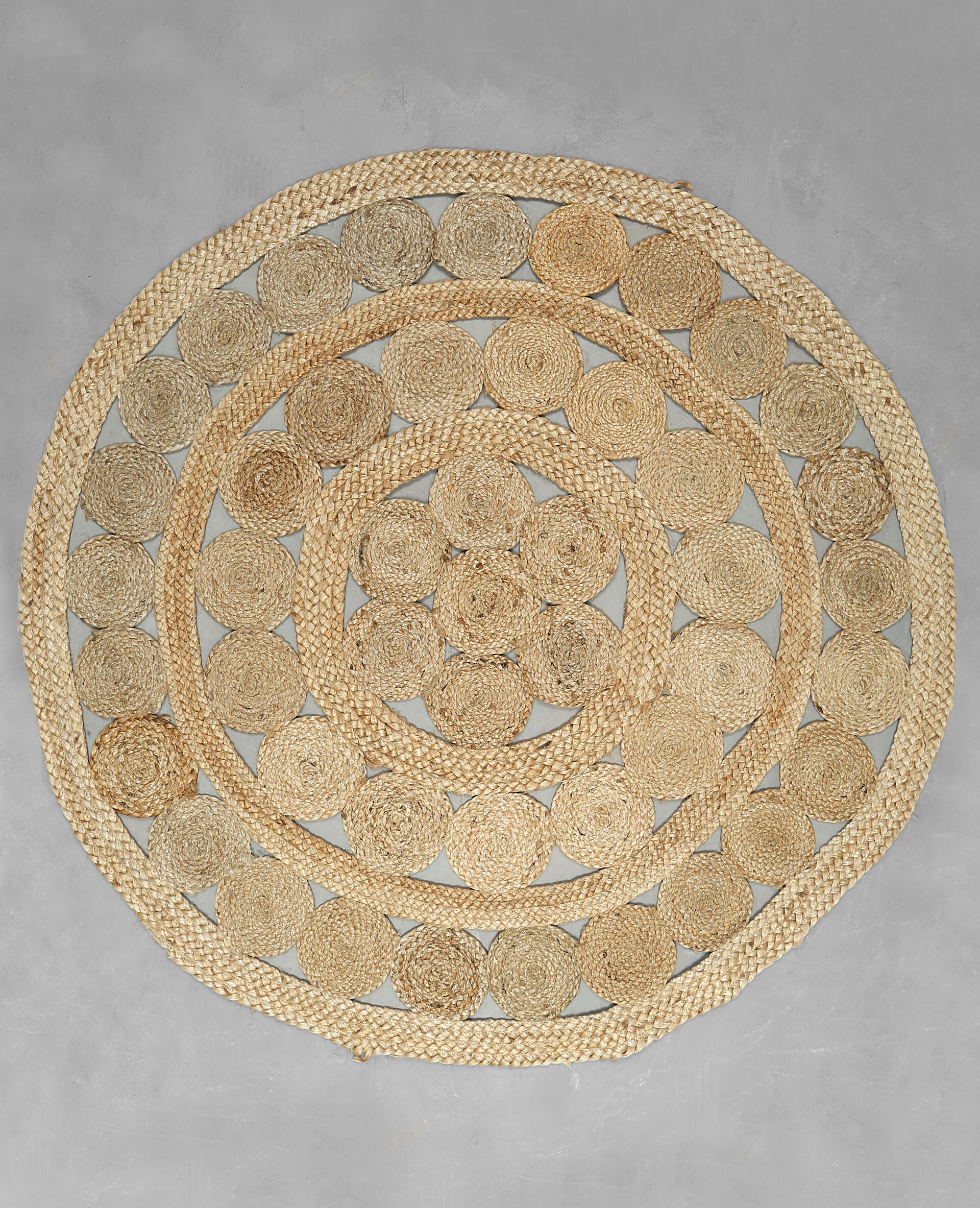 Tapis Rond Jute Beige Taupe ...