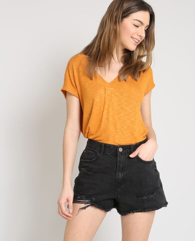 T-shirt à col V camel