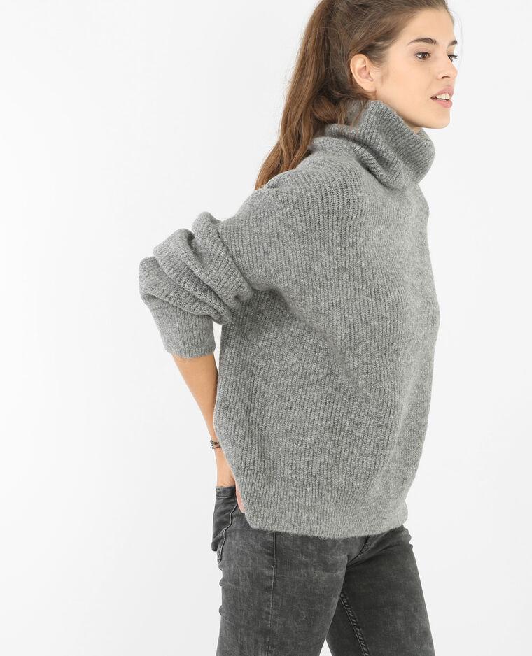 Pull oversize col roulé gris chiné