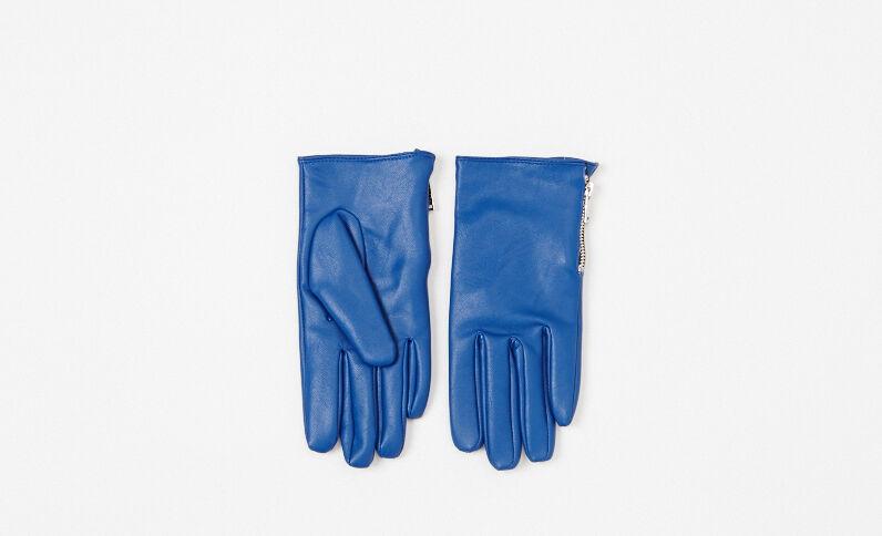 Gants simili cuir bleu