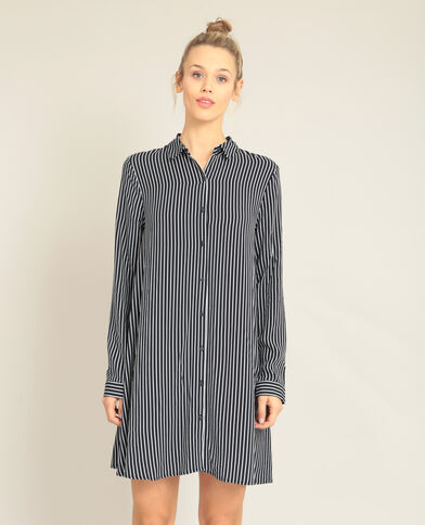 Robe chemise à rayures bleu marine
