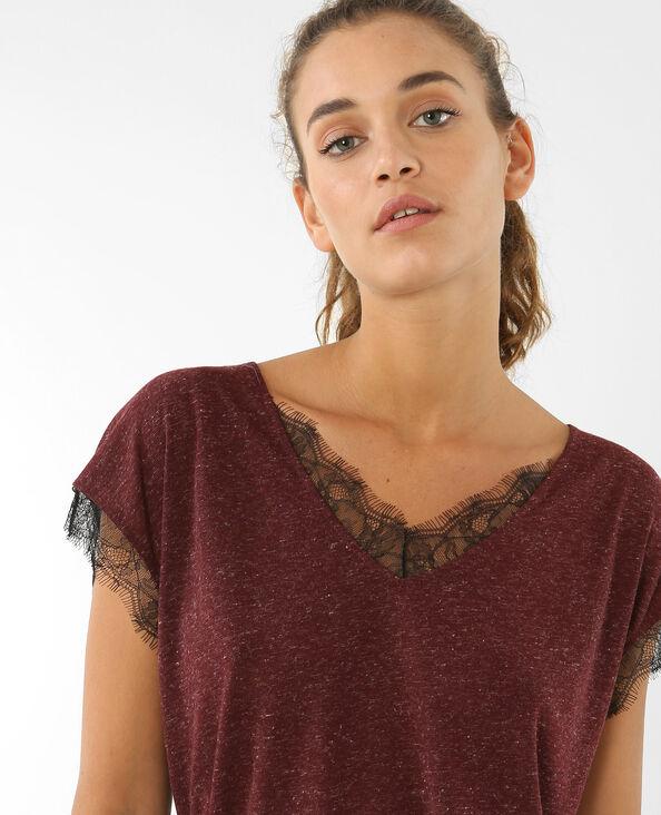 T-shirt dentelle Bordeaux