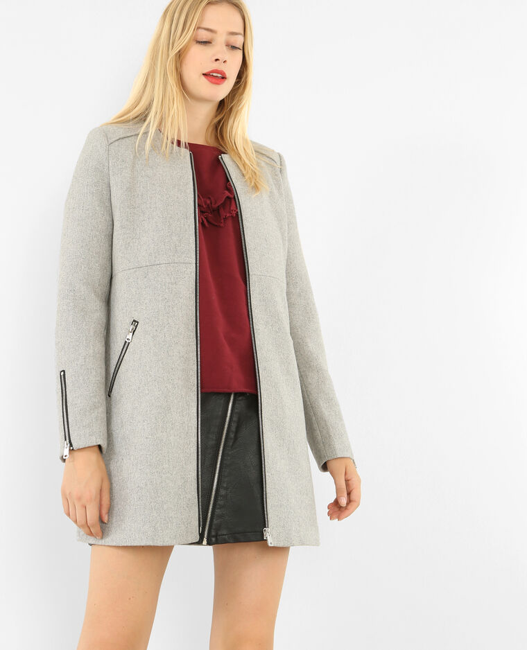 Manteau mi-long zippé gris chiné