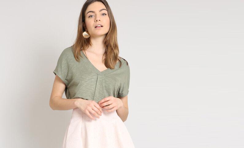 T-shirt à col V vert