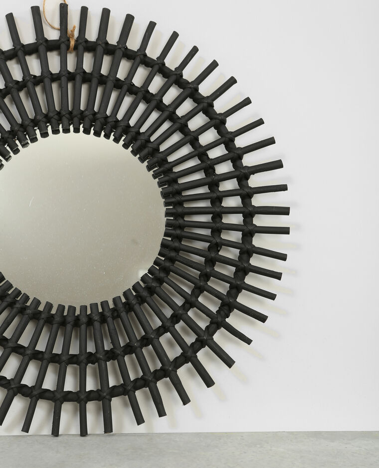 Miroir soleil en rotin noir 902206899a07 pimkie for Miroir rotin noir