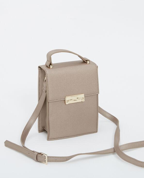 Petit sac rigide gris argenté