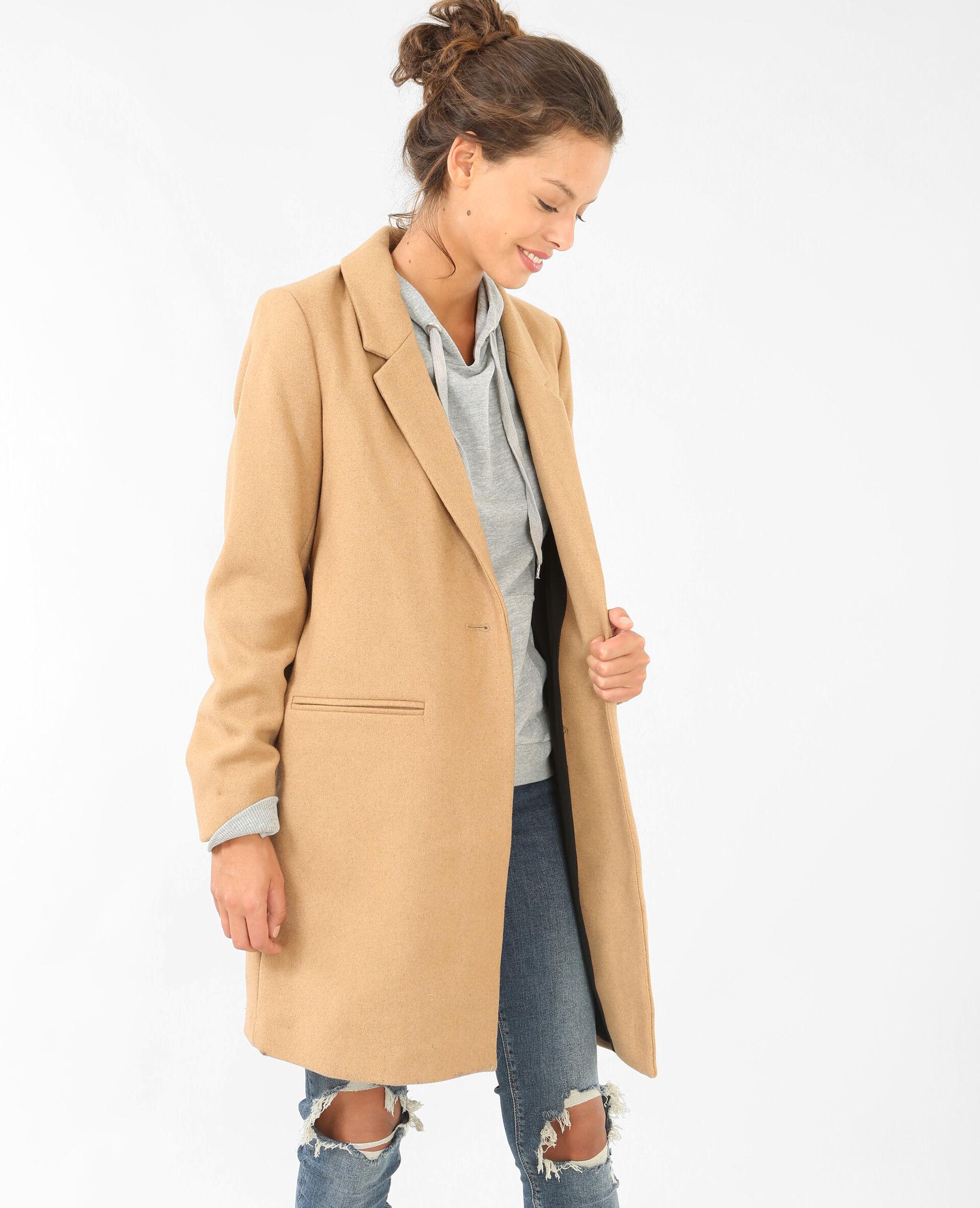 Manteau marron camel femme