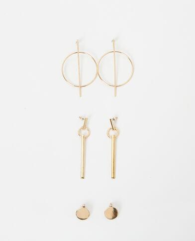 Lot de 3 boucles d'oreilles dorées doré