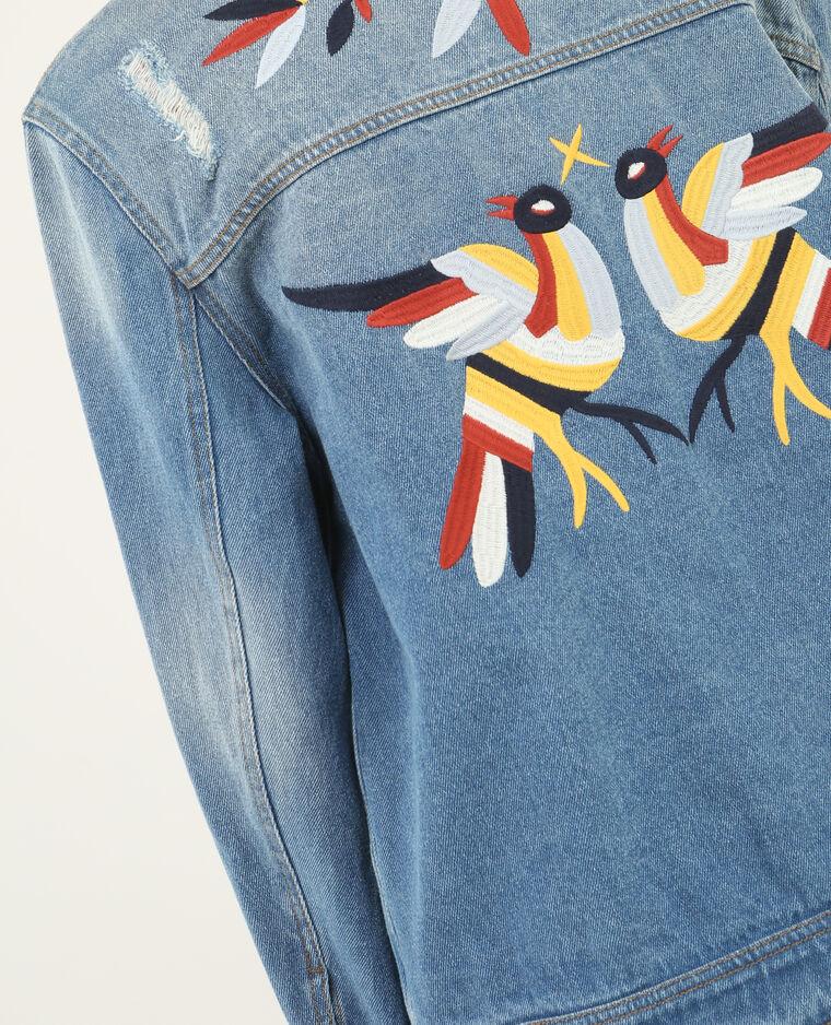 Veste en jean brodée bleu denim