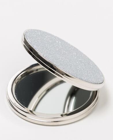 Miroir de poche pailleté rose