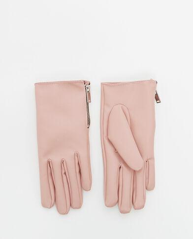 Gants en faux cuir rose