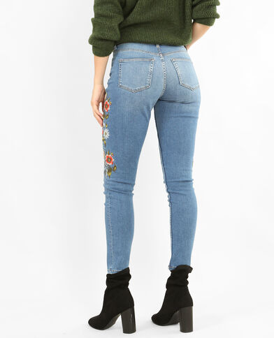 Jean slim brodé bleu denim