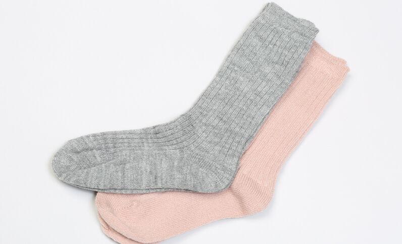 Lot de chaussettes côtelées taupe