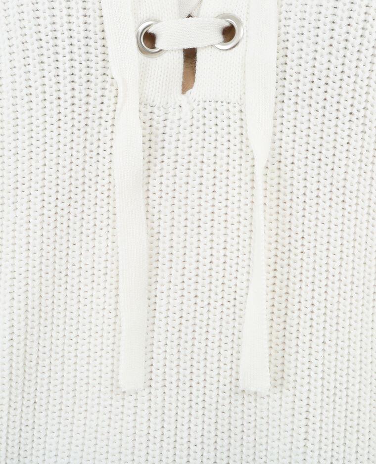 Pull maille à lacets blanc cassé