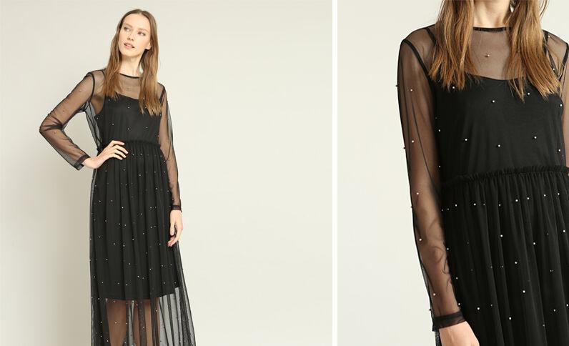 Robe longue en tulle noir