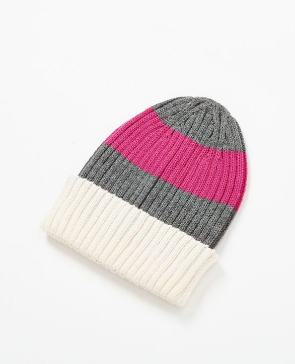 Bonnet à rayures rose fushia
