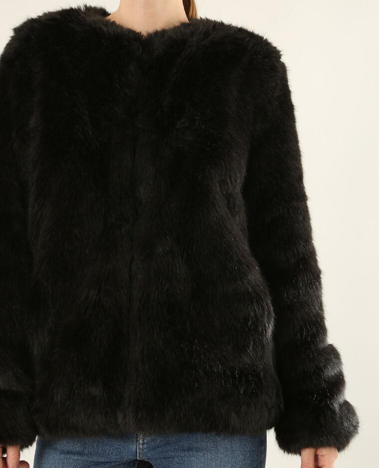Veste fausse fourrure noir