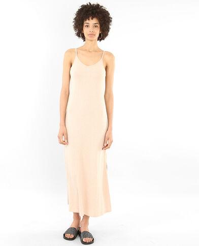 Longue robe côtelée rose pâle