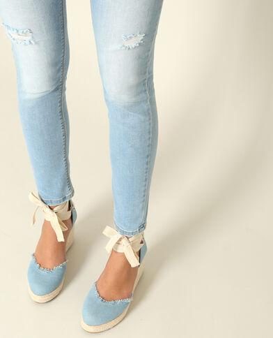 Sandales compensées bleu ciel