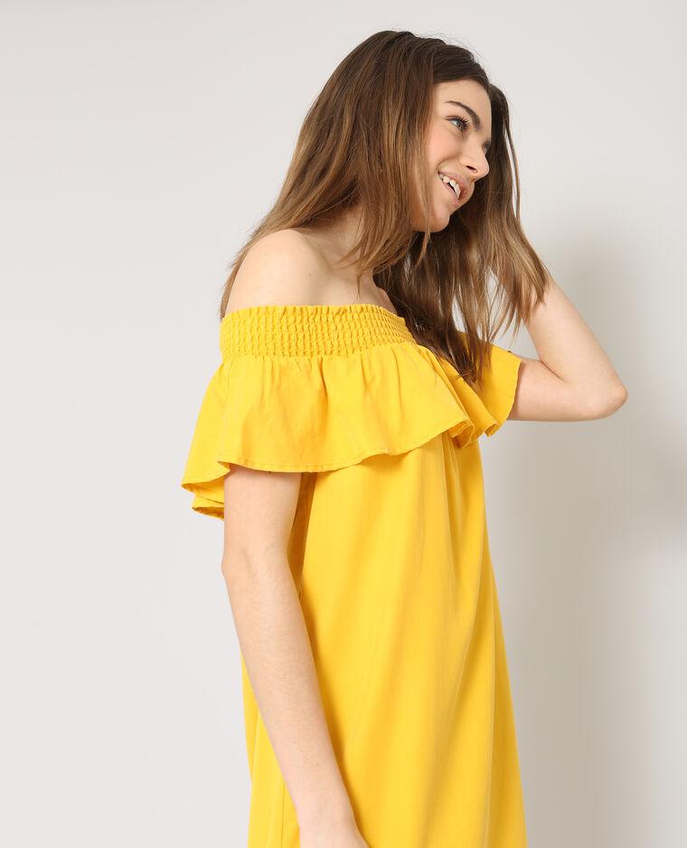 Robe col bardot jaune