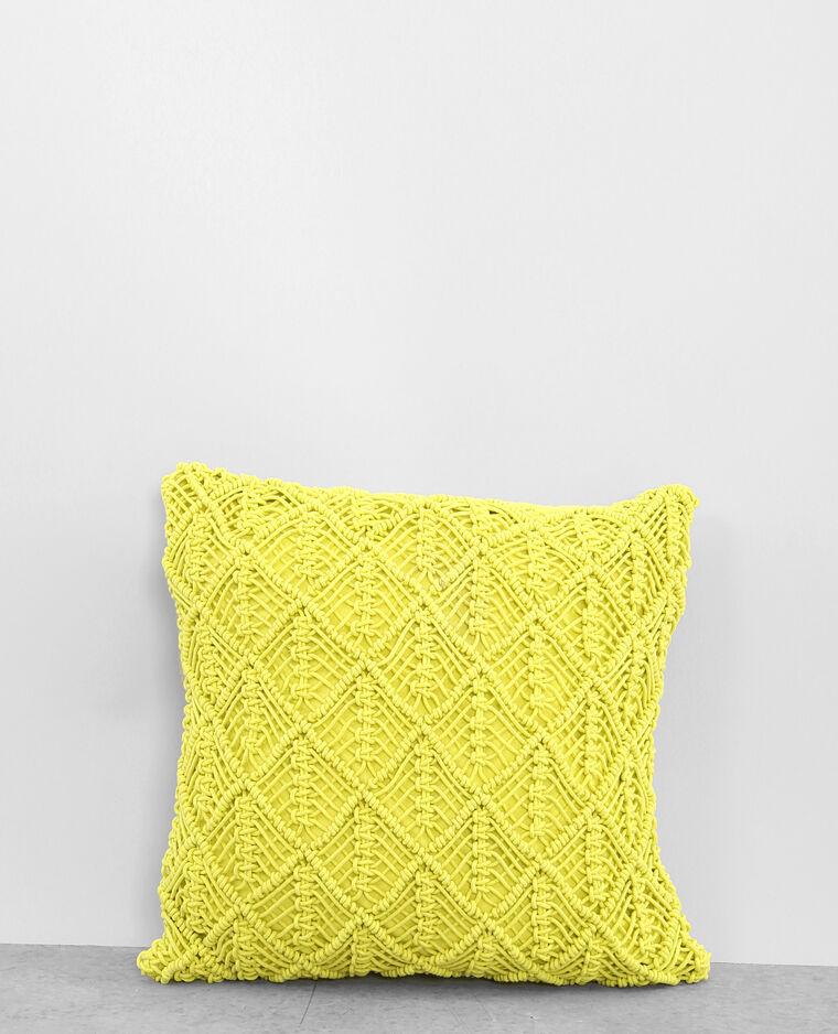 Housse de coussin macramé jaune