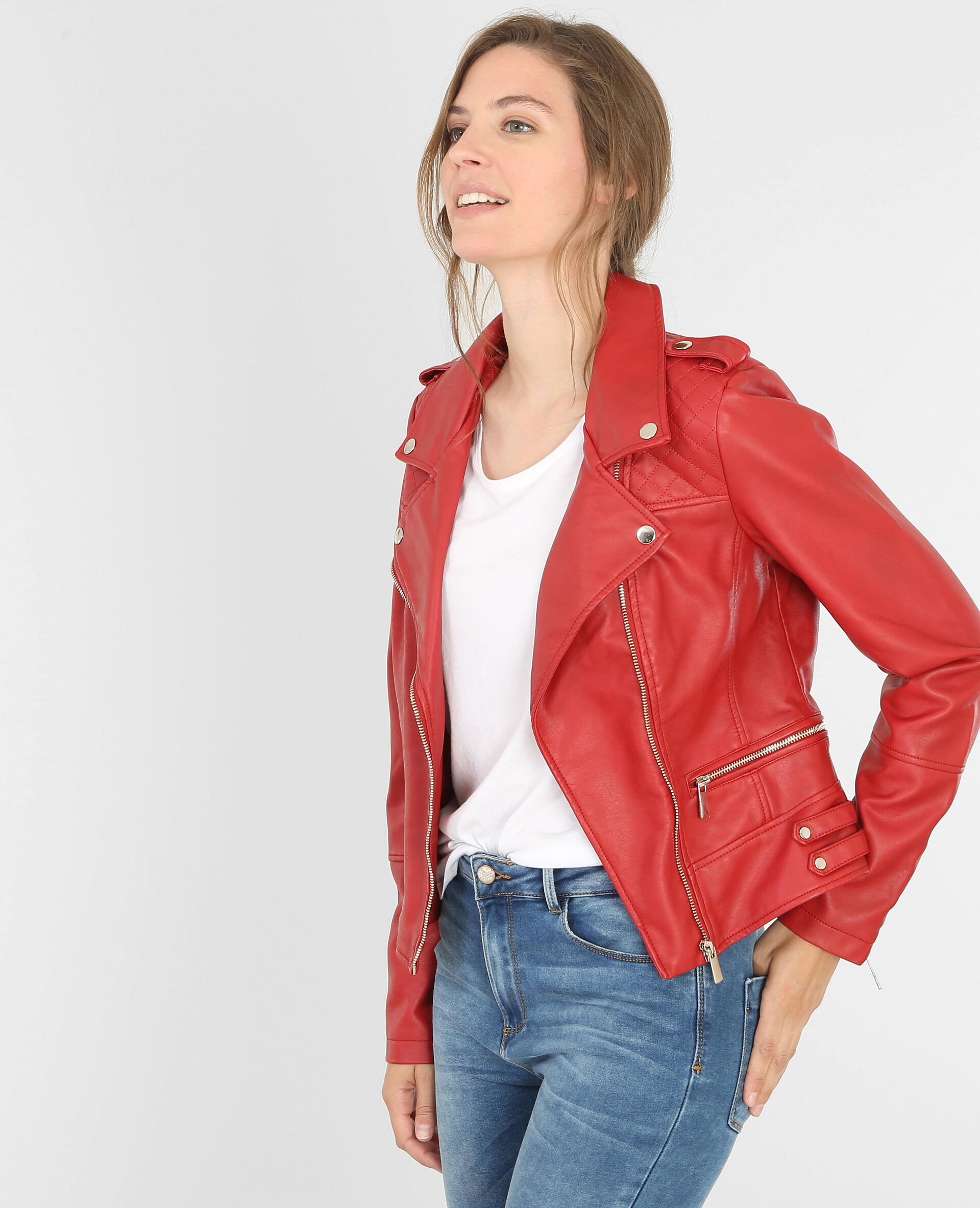Veste cuir rouge femme pimkie