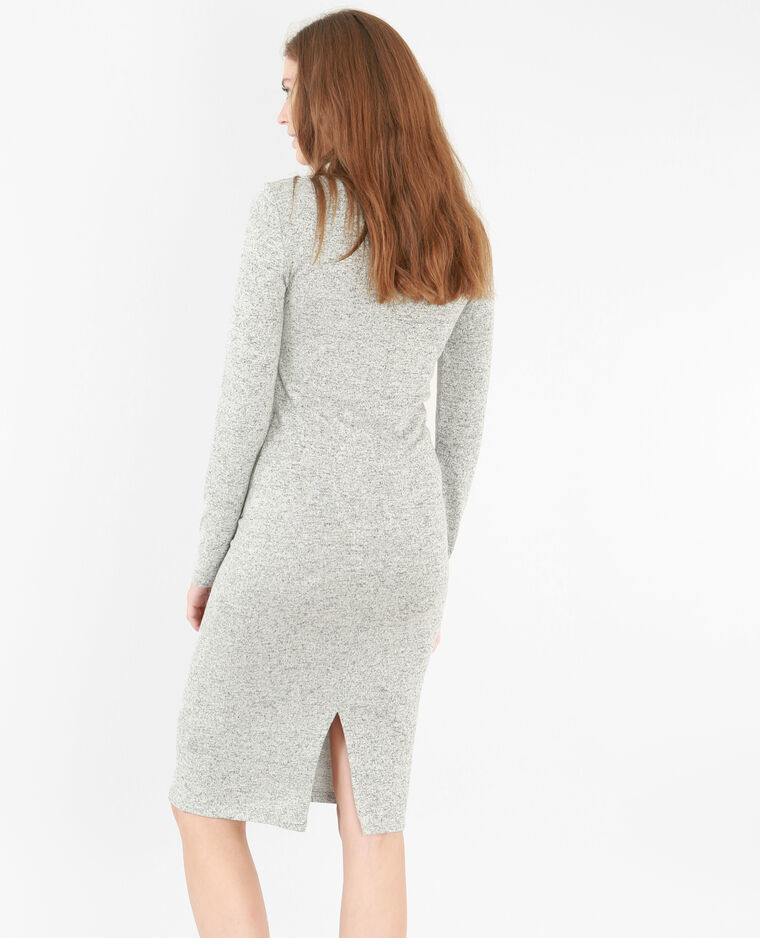 Robe pull longue gris chiné