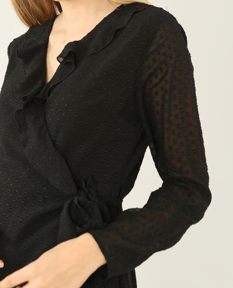 Robe portefeuille en plumetis noir