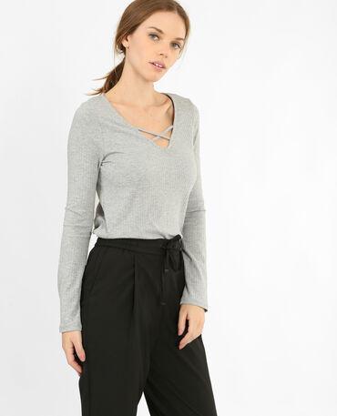 T-shirt en maille côtelée gris chiné