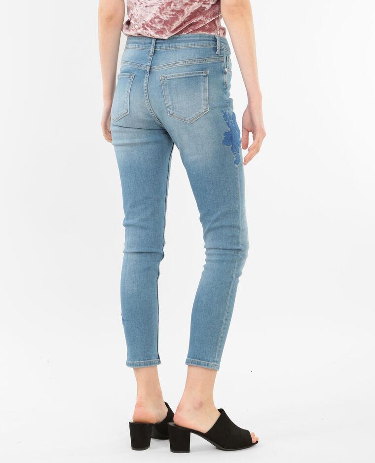 Jean skinny brodé bleu