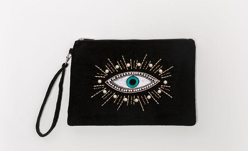 Pochette velours œil noir