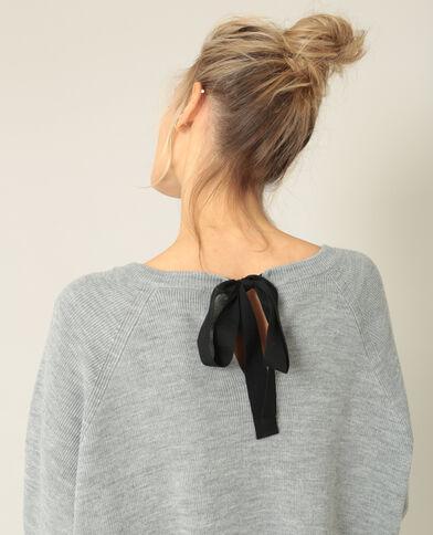 Pull à nœud gris chiné