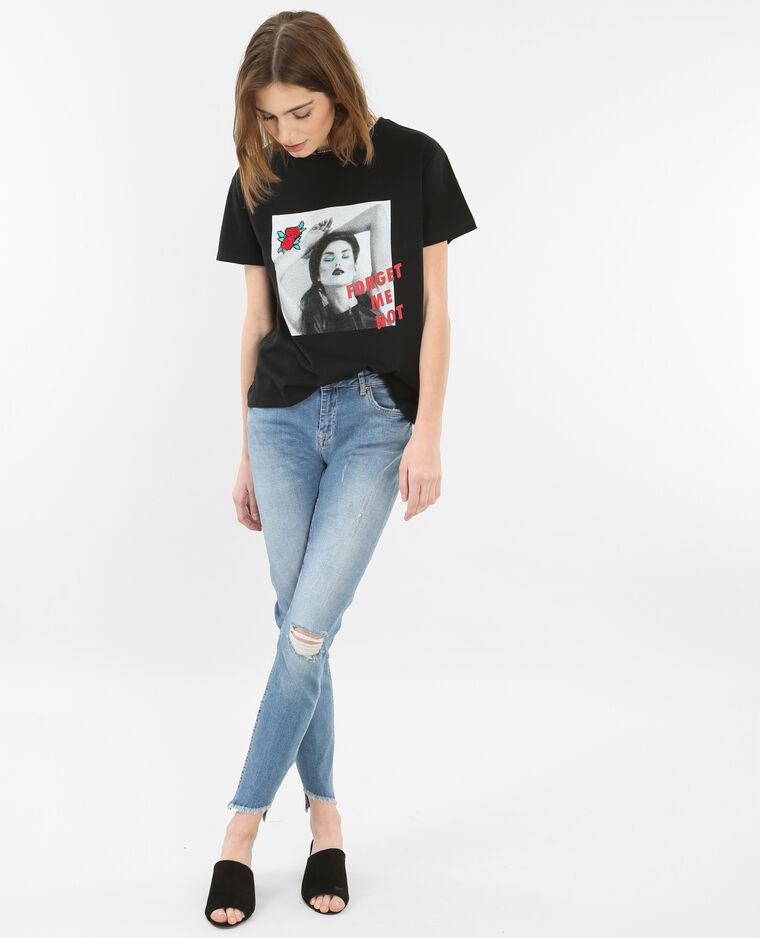 T-shirt brodé à message noir