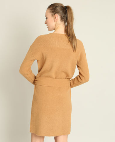 Robe pull ceinturée camel