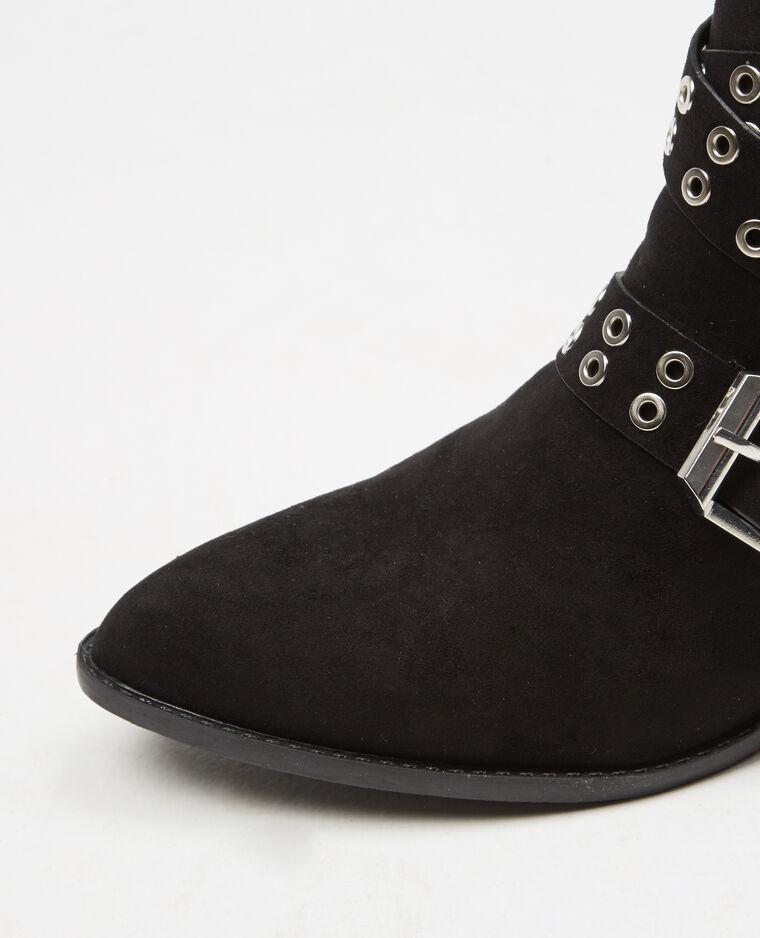 Boots brides rivetées noir