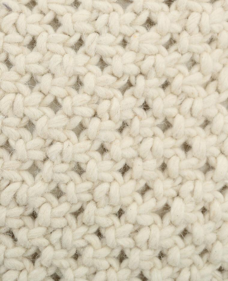 Housse de coussin tricotée écru