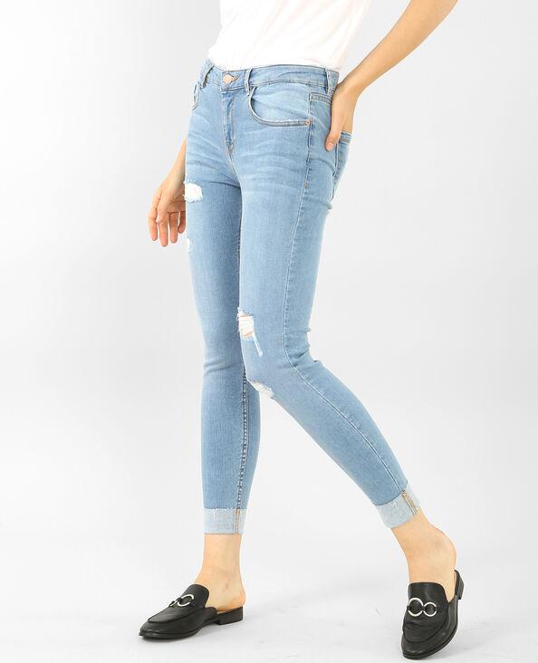 Jean skinny destroy à revers bleu clair