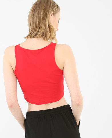 Cropped top sans manches rouge
